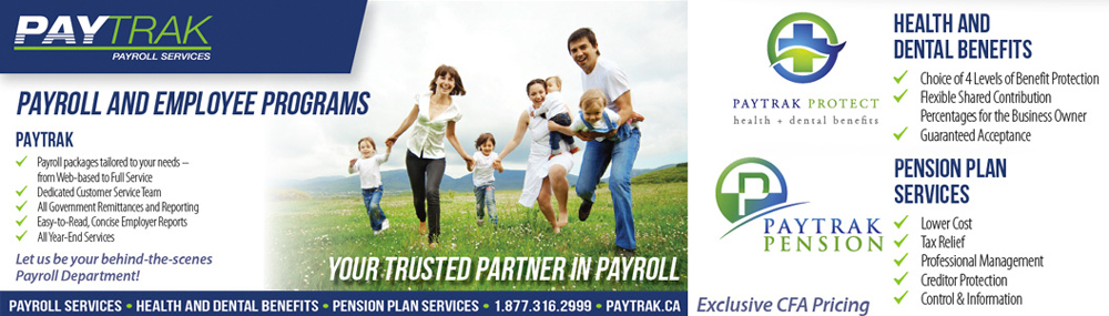 This is an advertisement for Paytrack Payroll Services
